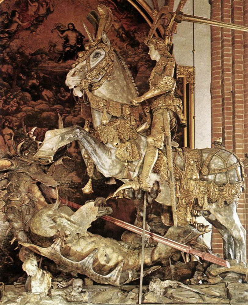 St George and the Dragon by Bernt Notke-Sculpture