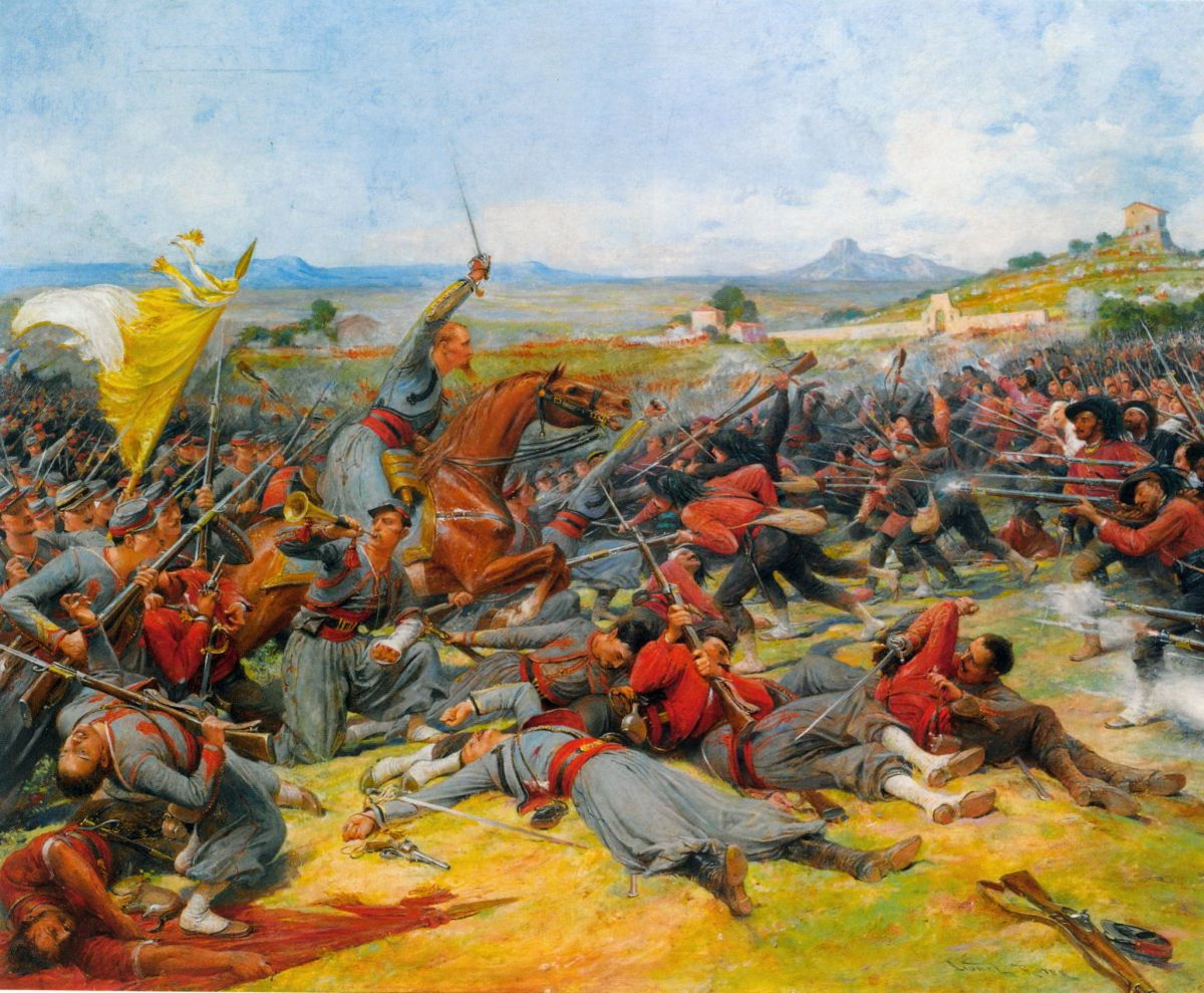 The Battle Near Mentana by Lionel Noel Royer-Oil Painting