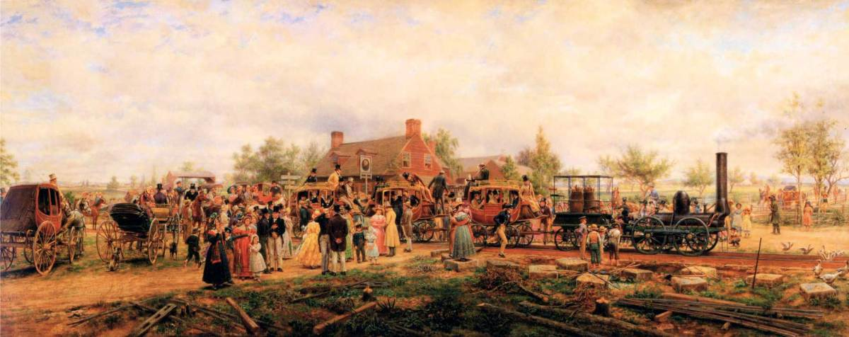 The First Railroad Train on the Mohawk and Hudson Road by Edward Lamson Henry