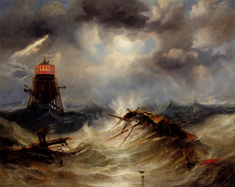The Irwin Lighthouse, Storm Raging by James Wilson Carmichael