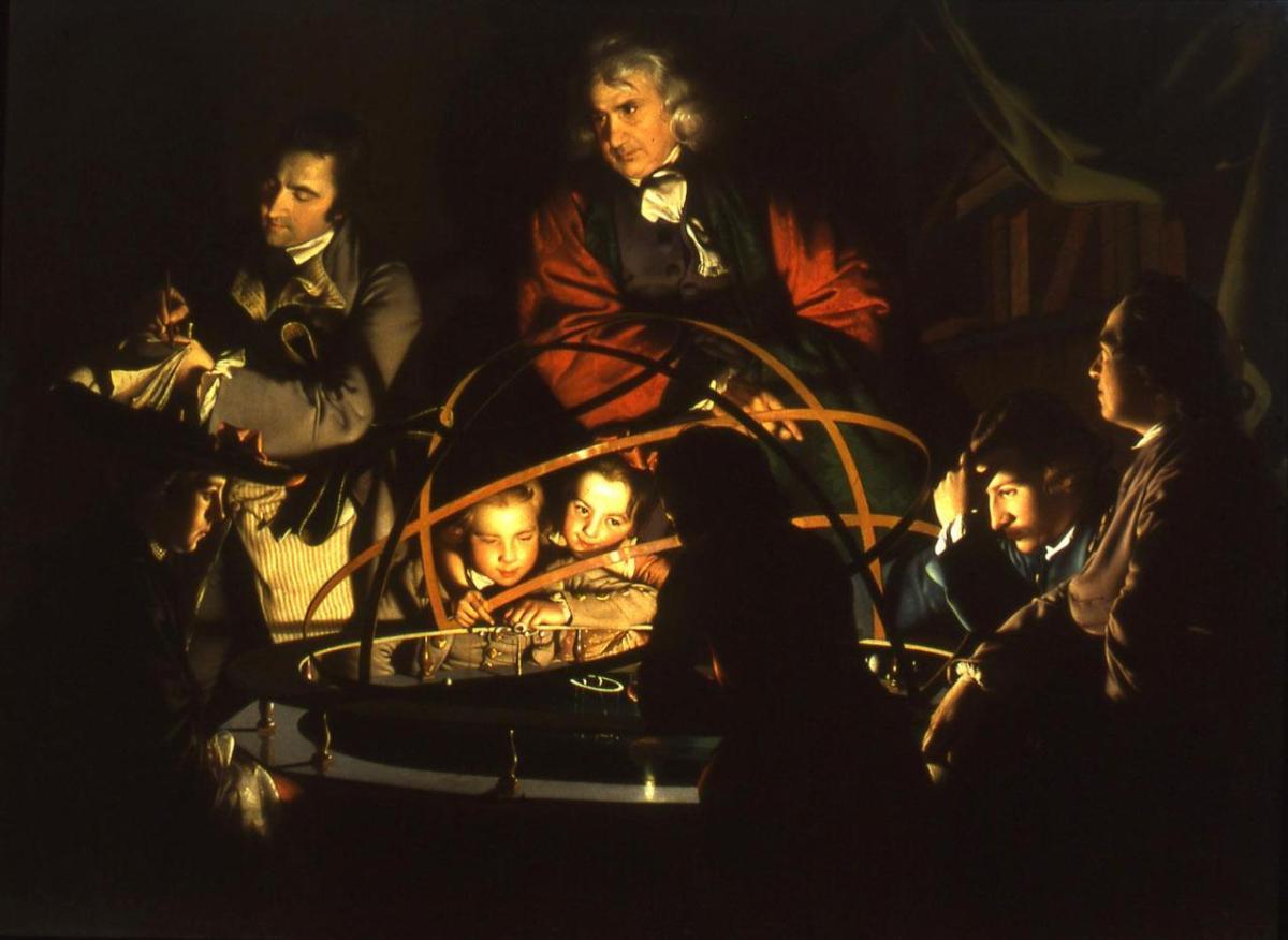 A Philosopher Lecturing on the Orrery by Joseph Wright of Derby