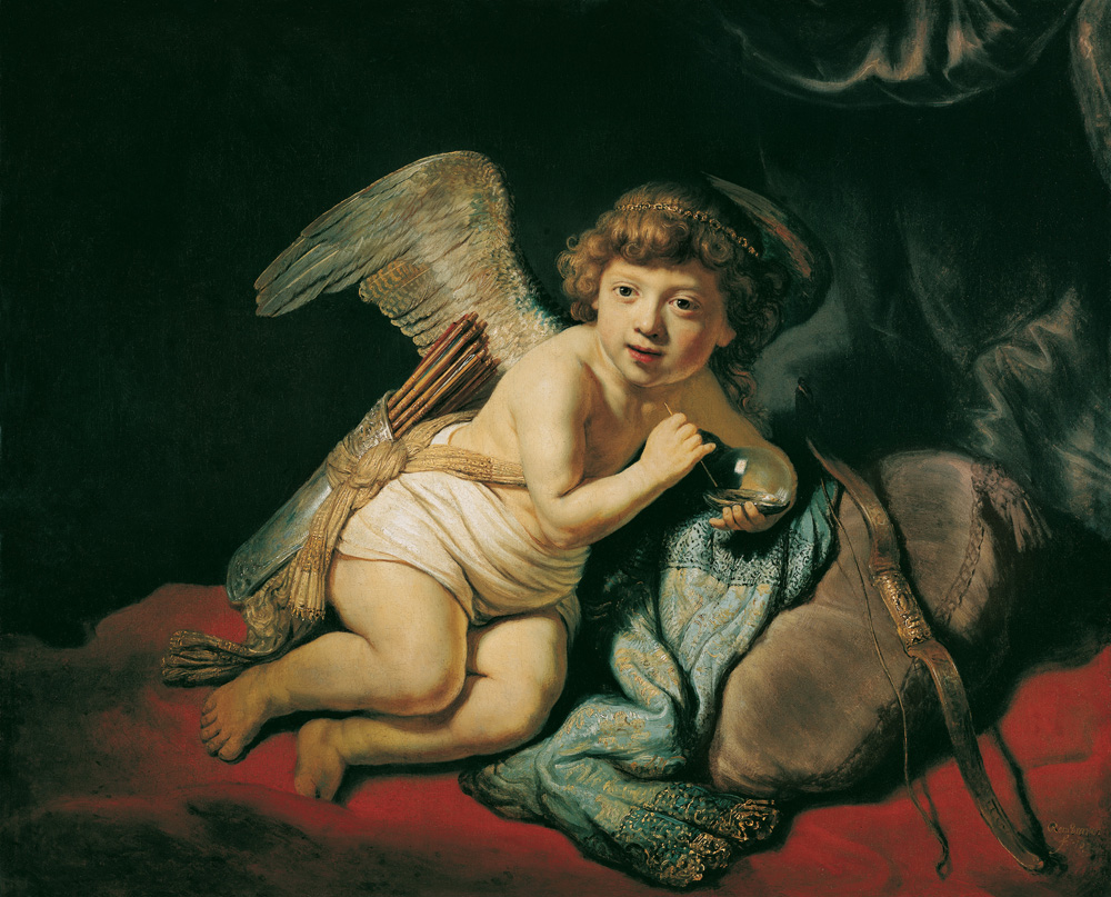 Cupid Blowing Soap Bubbles by Rembrandt