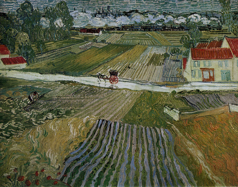 Landscape with a Carriage and a Train by Vincent van Gogh-Landscape Painting