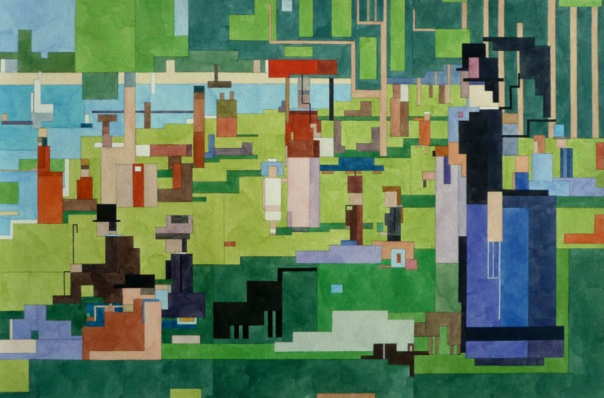 A Sunday Afternoon on the Island of La Grande Jatte by Georges Seurat - 8 bit