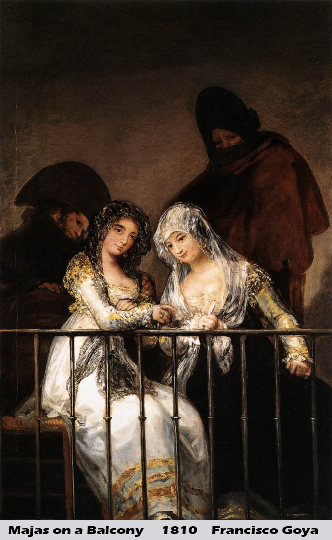 Majas on a Balcony by Francisco Goya