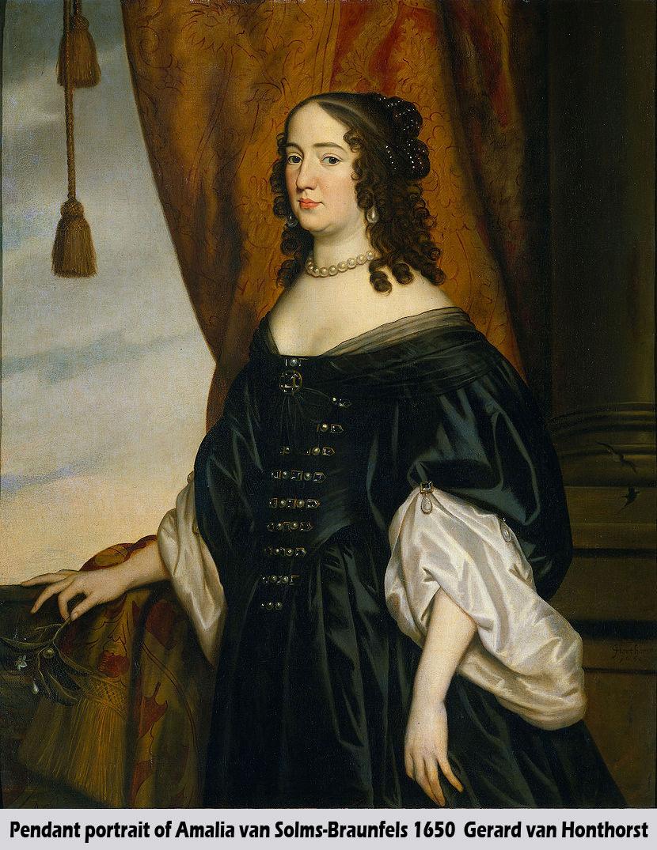 Portret van Amalia van Solms (1602-1675), echtgenote van Prins Frederik Hendrik by Gerrit van Honthorst