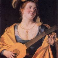 Woman with Guitar by Gerrit van Honthorst