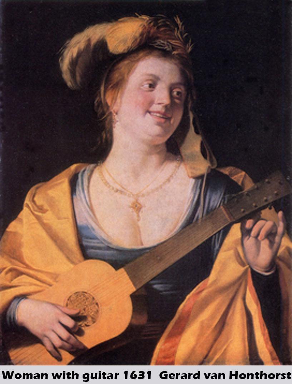 Woman with Guitar by Gerrit van Honthorst