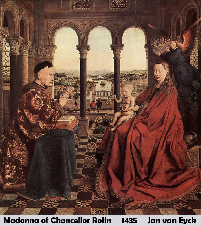 Madonna of Chancellor Rolin by Jan van Eyck-History Painting