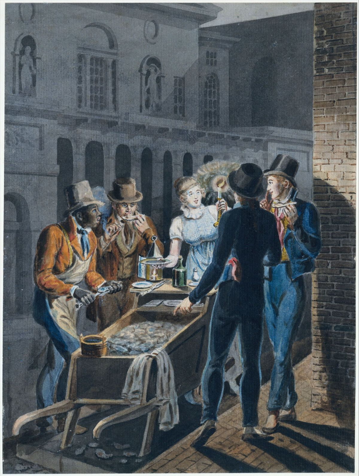 Nightlife in Philadelphia an Oyster Barrow in front of the Chestnut Street Theater by John Lewis Krimmel