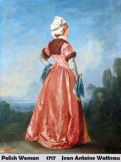 Polish Woman by Jean Antoin Watteau-Portrait Painting