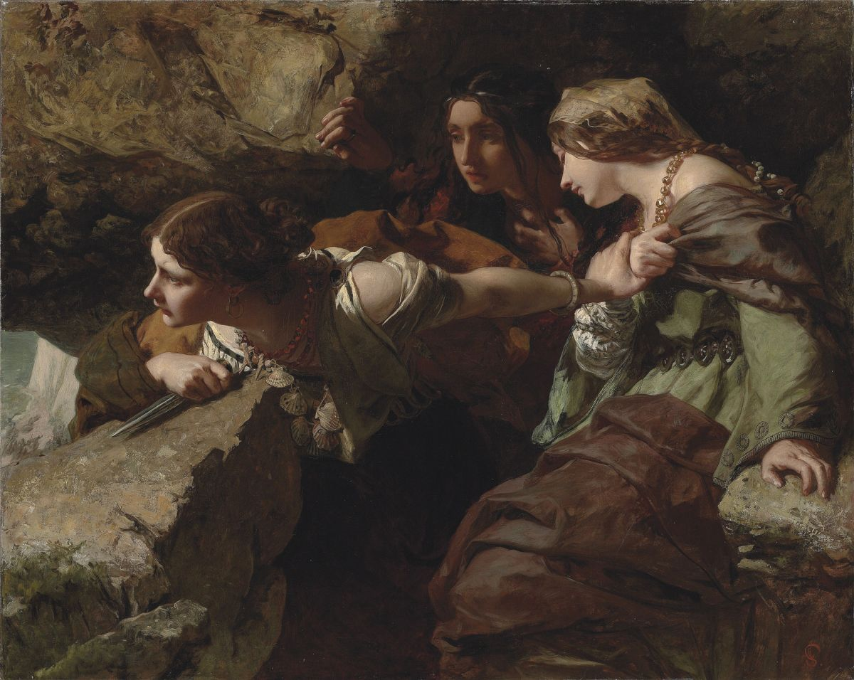 Courage Anxiety and Despair Watching the Battle by James Sant