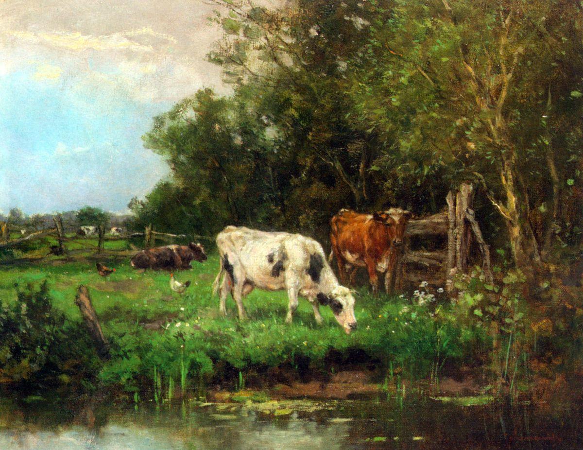 Cows Watering In A Meadow by Johan Frederik Cornelis Scherrewitz