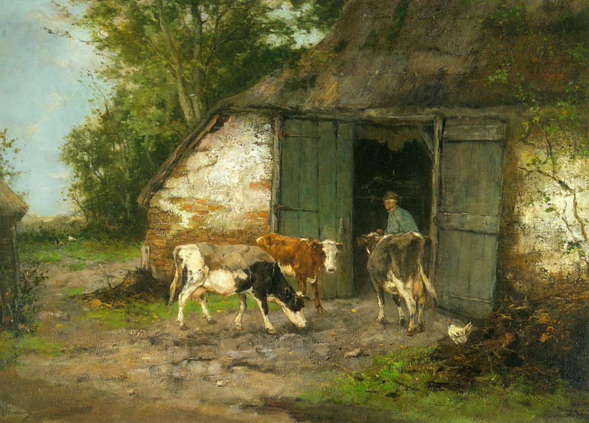Farmer and Cattle by a Stable by Johan Frederik Cornelis Scherrewitz