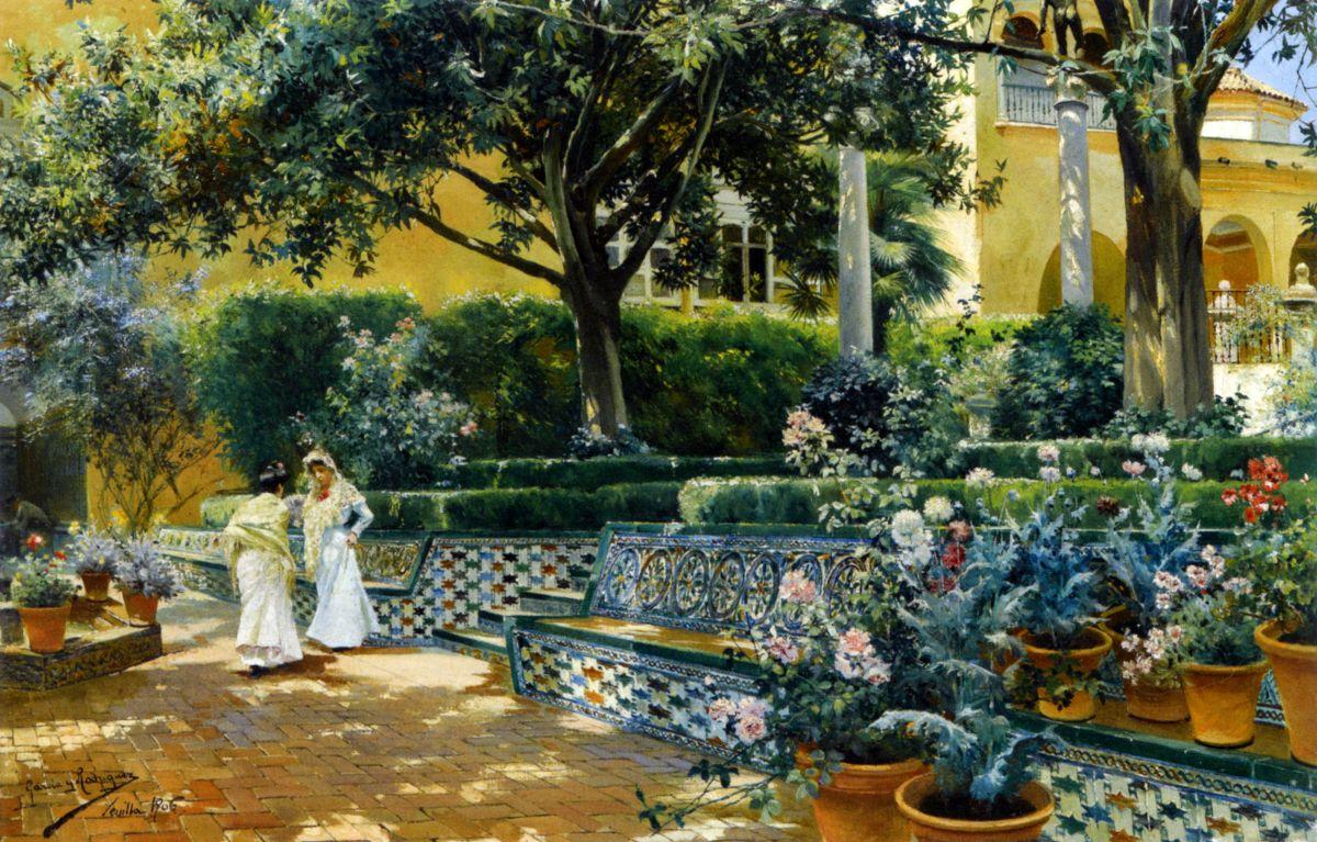 Gardens of the Alcazar Seville by Manuel Garcia y Rodriguez