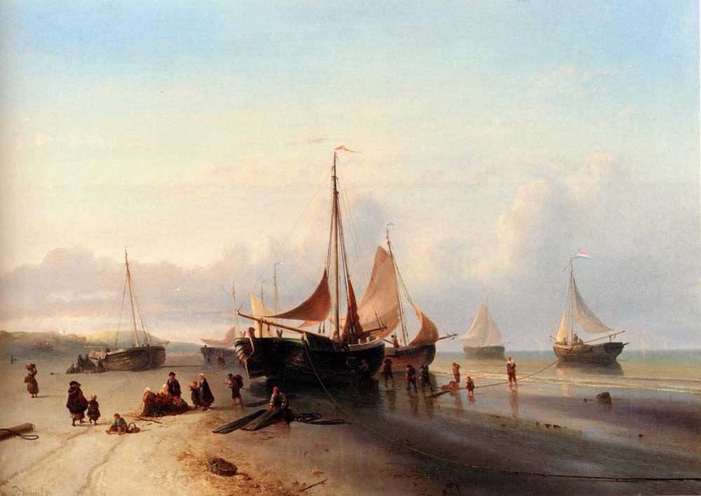 Moored Fishing Fleet On The Beach Of Scheveningen by Mauritz Verveer