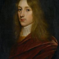 Portrait of a Gentleman said to be Prince Rupert of Rhine in a painted Oval Wearing a Cloak and Cravat by Gerrit van Honthorst