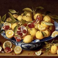 A Still Life Of A Wanli Kraak Porcelain Bowl Of Citrus Fruit And Pomegranates On A Wooden Table by Jacob van Hulsdonck