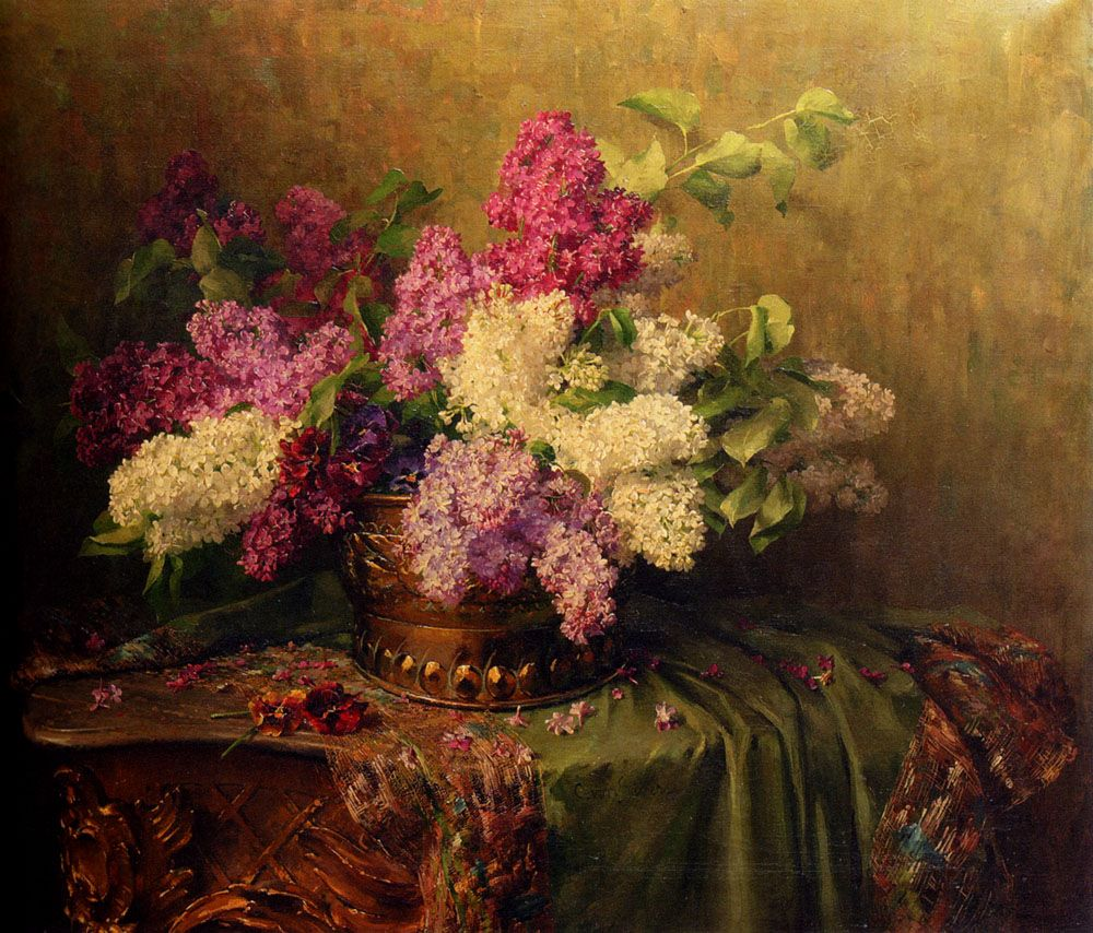 A Still Life With Lilacs And Violets On A Draped Guilt Rococo Table by Clara Von Sivers