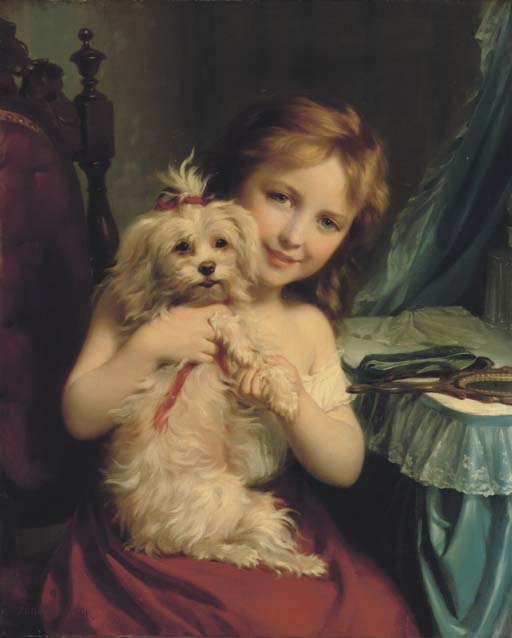 Young Girl with Bichon Frise by Fritz Zuber-Buhler