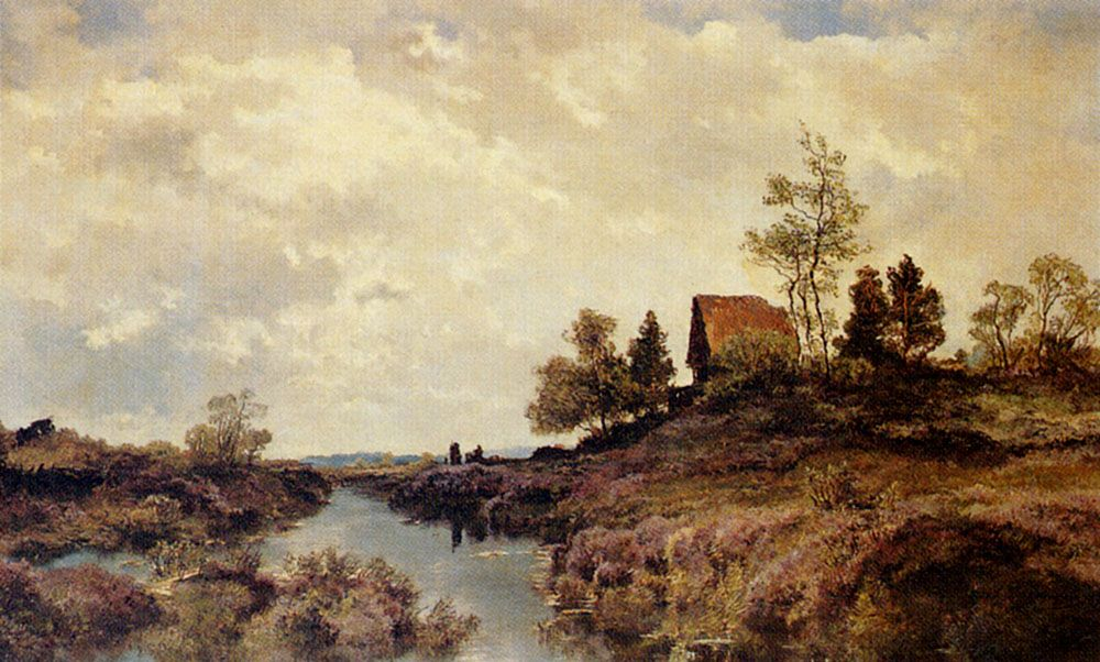 A Cottage Nestled In A River Landscape by Joseph Wenglein