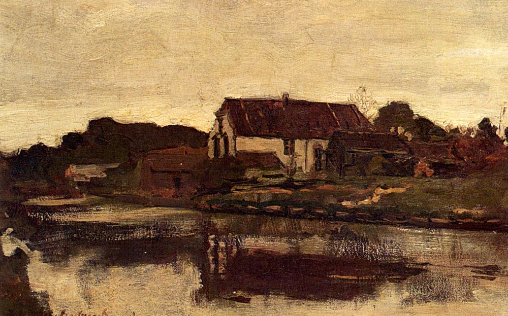 A Farm On The Waterfront by Jan Hendrik Weissenbruch