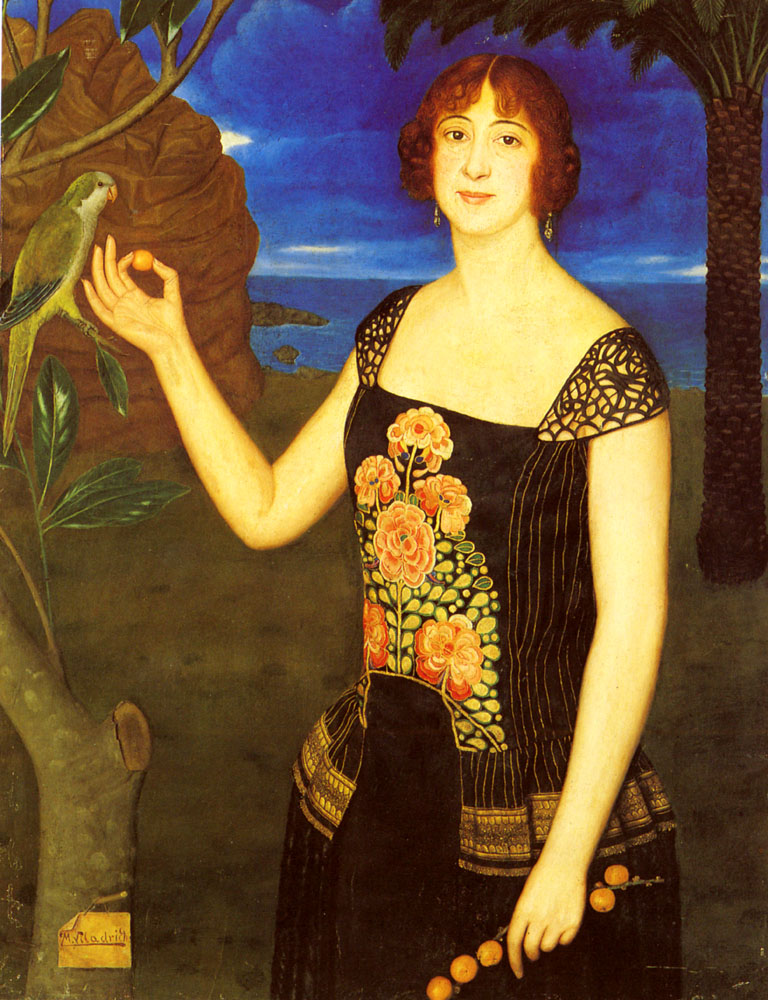 A Portrait Of A Lady With A Parakeet In A Tropical Landscape by Miguel Viladrich