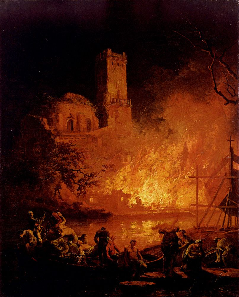 A River Landscape With Figures Fleeing A Burning City by Pierre Jacques Volaire