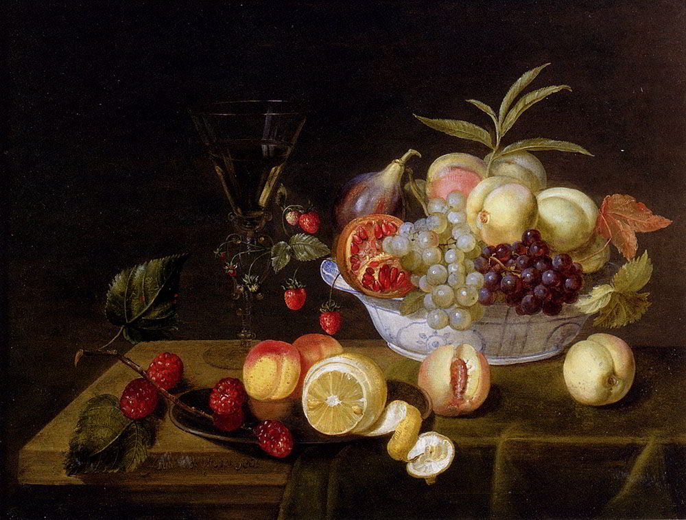 A Still Life Of Peaches, Grapes, Pomegranates, Figs And Wild Strawberries In A WanLi Porcelain Bowl All Resting On A Tabletop by Frans Ykens