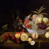 A Still Life Of Peaches, Grapes, Pomegranates, Figs And Wild Strawberries In A Wan­Li Porcelain Bowl All Resting On A Tabletop by Frans Ykens