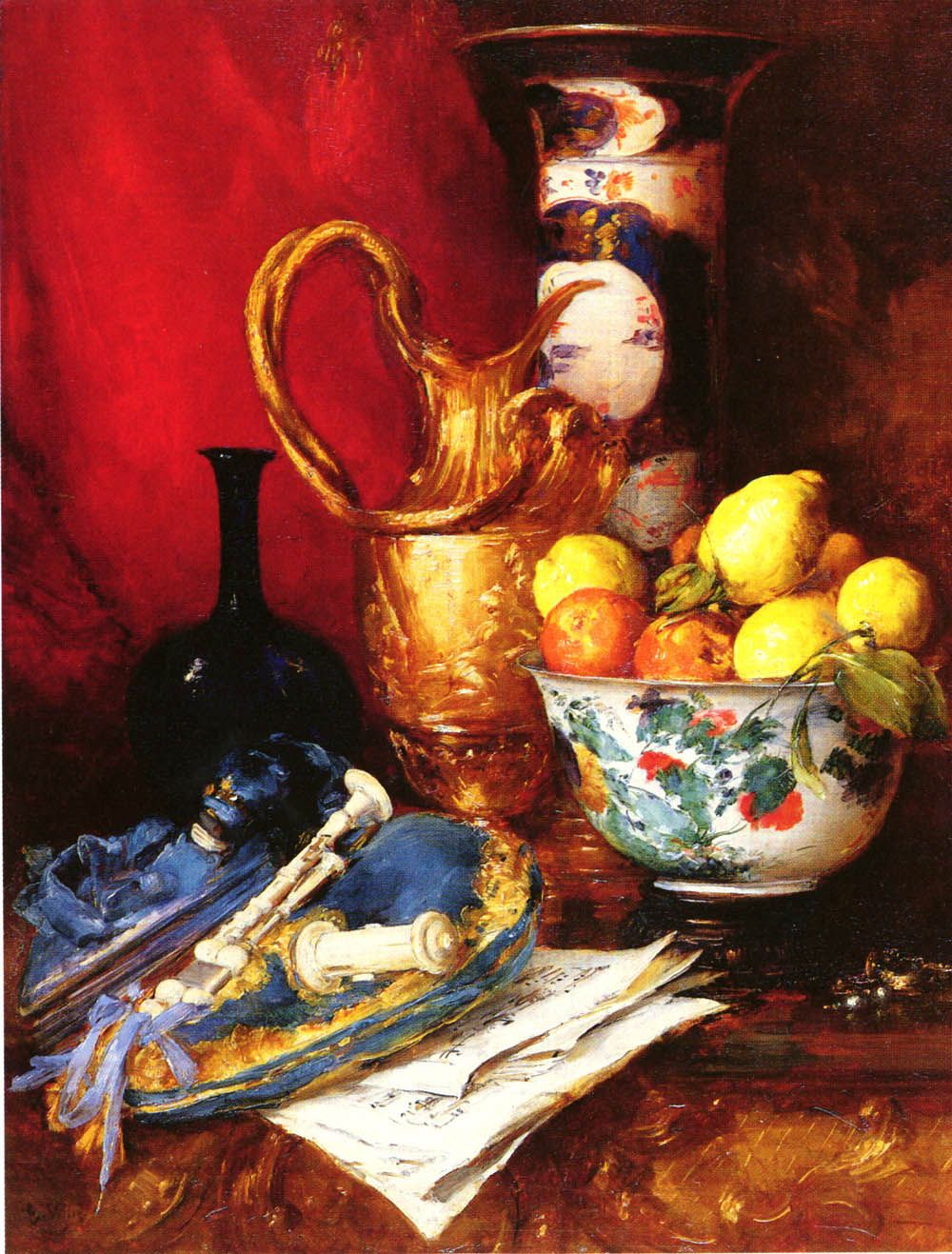 A Still Life with a Bowl of Fruit by Antoine Vollon