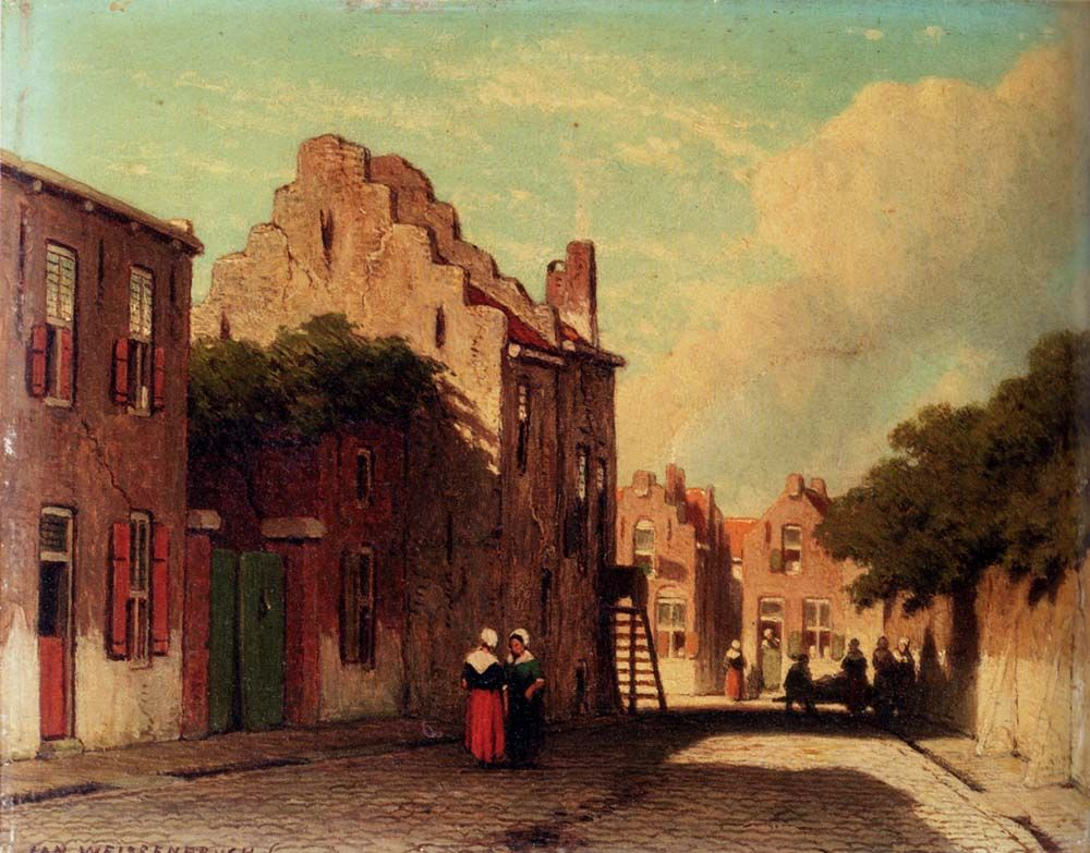 A Sunlit Townview With Figures Conversing by Jan Hendrik Weissenbruch