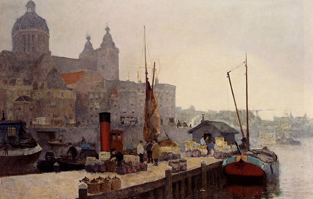 A View Of Amsterdam With The St Nicolaas Church by Cornelis Vreedenburgh