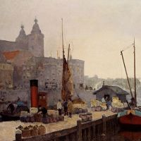 A View Of Amsterdam With The St. Nicolaas Church by Cornelis Vreedenburgh