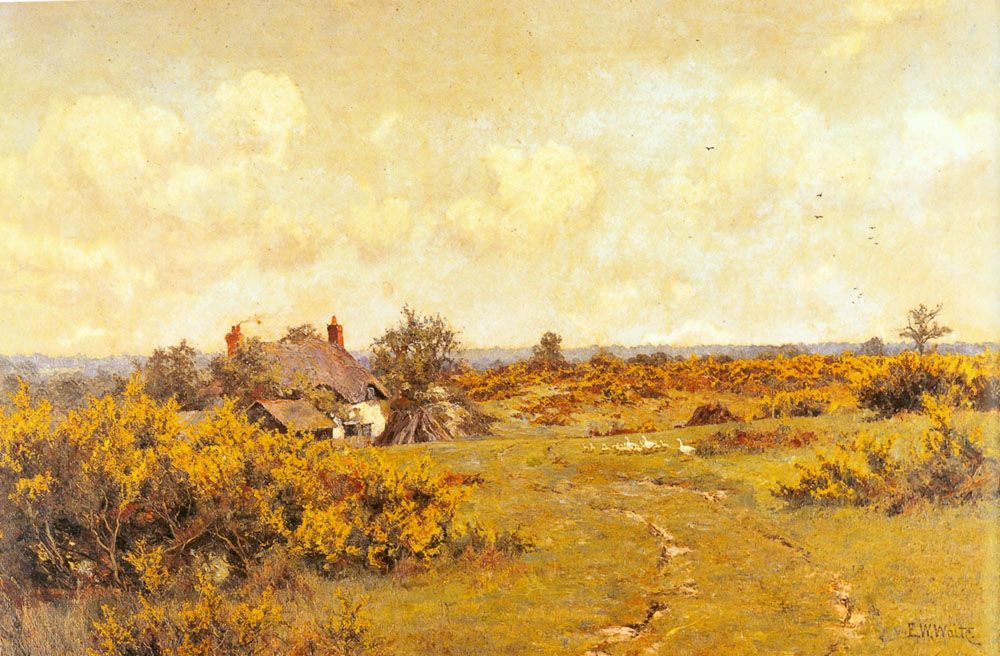A gaggle of geese on a fram track in a Surrey landscape a cottage beyond by Edward Wilkins Waite
