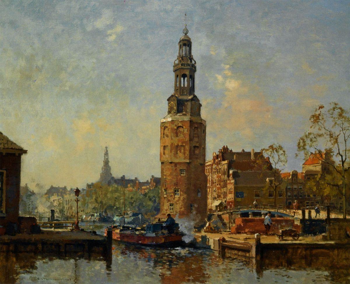 A view of the Montelbaanstoren Amsterdam by Cornelis Vreedenburgh