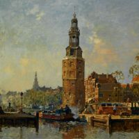 A view of the Montelbaanstoren Amsterdam by Cornelis Vreedenburgh