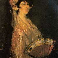 An Elegant Lady Fanning Herself by Ignacio Zuloaga y Zabaleta