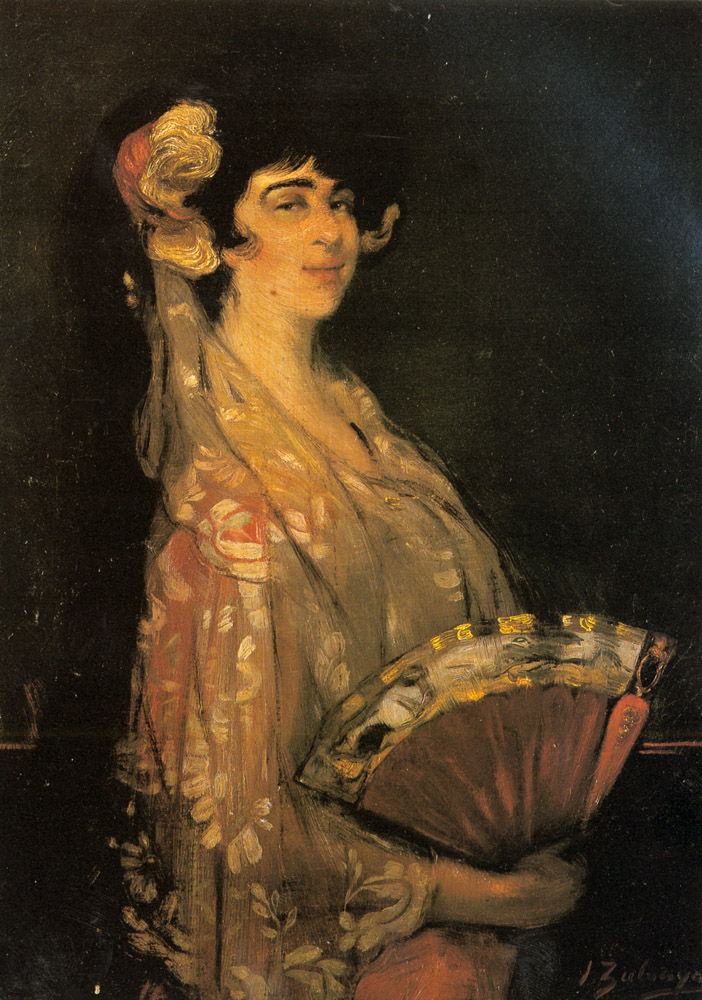 An Elegant Lady Fanning Herself by Ignacio Zuloaga y Zabaleta