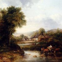 An Extensive River Landscape With A Drover In A Cart With His Cattle by Frederick Waters Watts