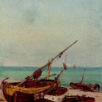 Bateaux de peches sur la plage by Theodor Alexander Weber