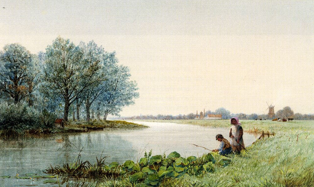 Children Playing By A River A Village Beyond by George Stanfield Walters