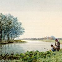 Children Playing By A River, A Village Beyond by George Stanfield Walters