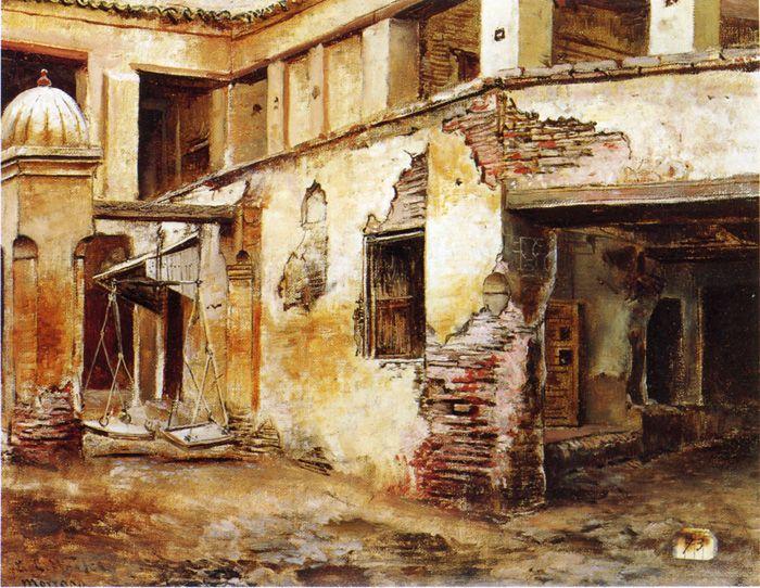 Courtyard in Morocco by Edwin Lord Weeks