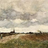 Figures On A Country Road, A Church In The Distance by Jan Hendrik Weissenbruch