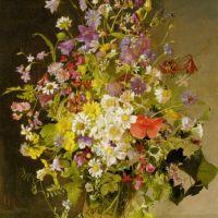 Ganseblumchen Rosen und Stiefmutterchen in Einer Vase by Franz Xaver Wolf