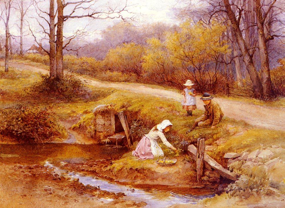 Gathering Primroses by Charles Edward Wilson