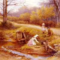 Gathering Primroses by Charles Edward Wilson