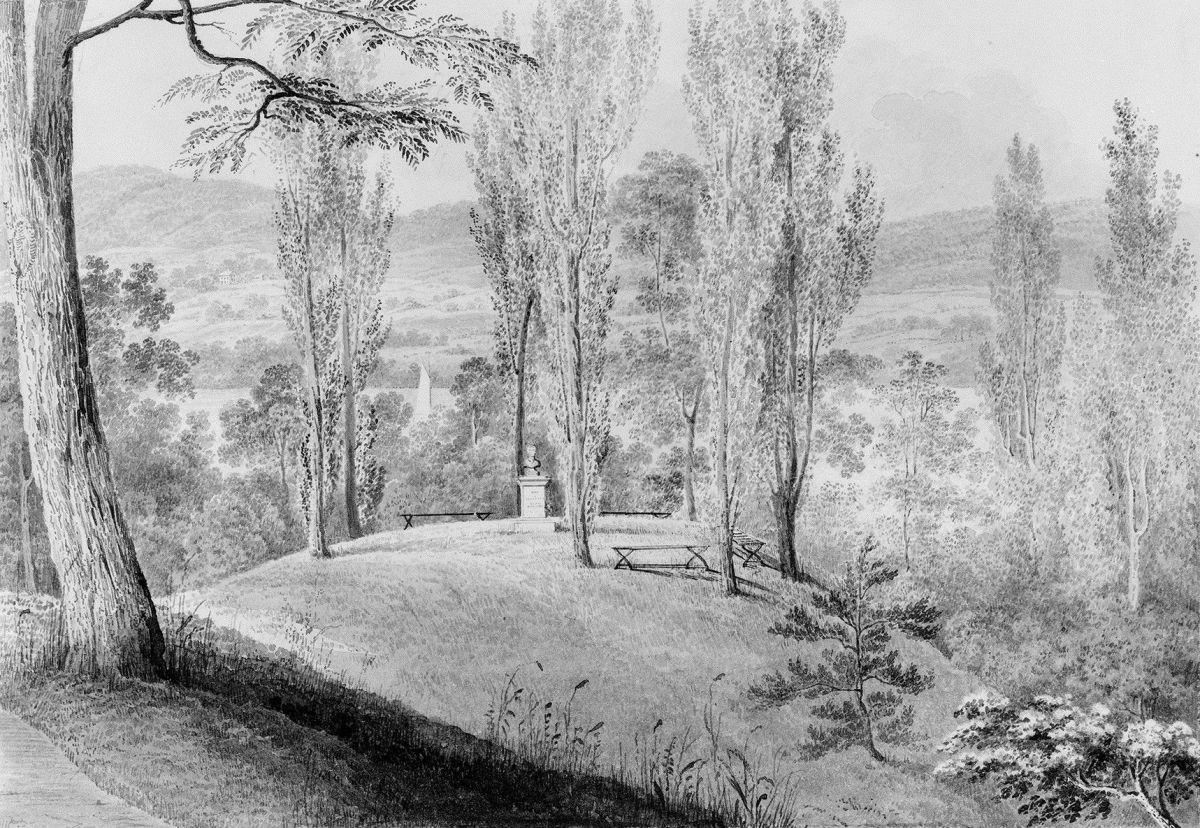 Grove of Poplars with a Memorial Bust David Hosack Estate Hype Park New York from Hosack Album by Thomas Kelah Wharton