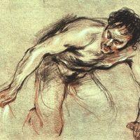 Kneeling Male Nude by Jean-Antoine Watteau